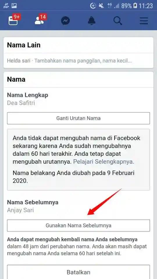 Cara Mengembalikan Nama Facebook Sebelumnya