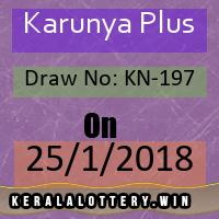 Keralalottery Results of Karunya Plus KN-197  as on 25/1/2018