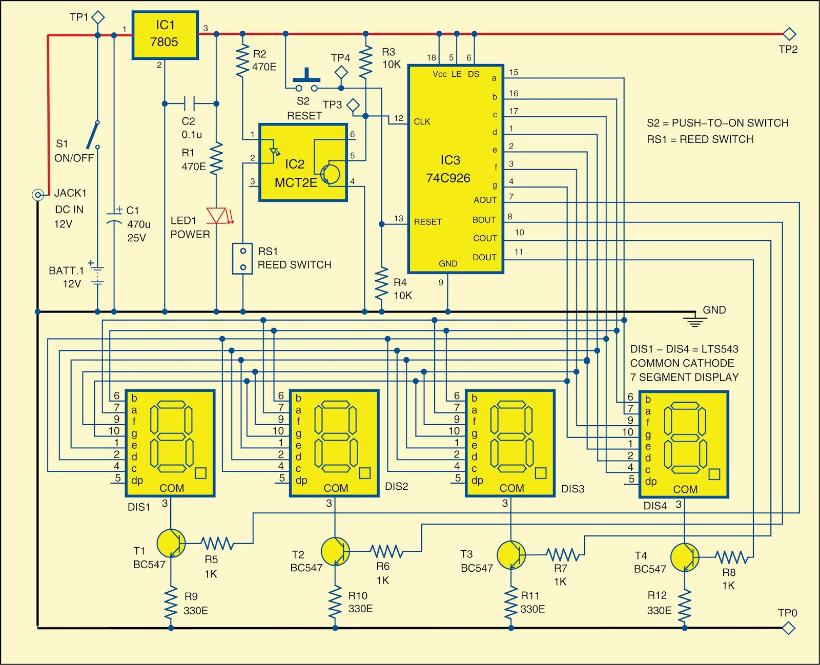 Electronic Project Rotation Counter 7 Segment Clock Circuit Diagram Npn Output Sourcing Drivers For A Display And An Internal Multiplexing Circuitry With Four Outputs The Has