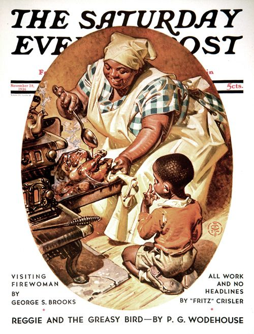 J.C. Leyendecker illustration. The Saturday Evening Post. Basting the Turkey, November 20, 1936. A Traditional Thanksgiving and Other stories of Giving Thanks. marchmatron.com