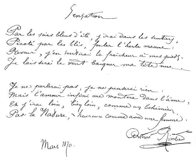 El Hacedor De Sueños Sensación Sensation De Arthur Rimbaud