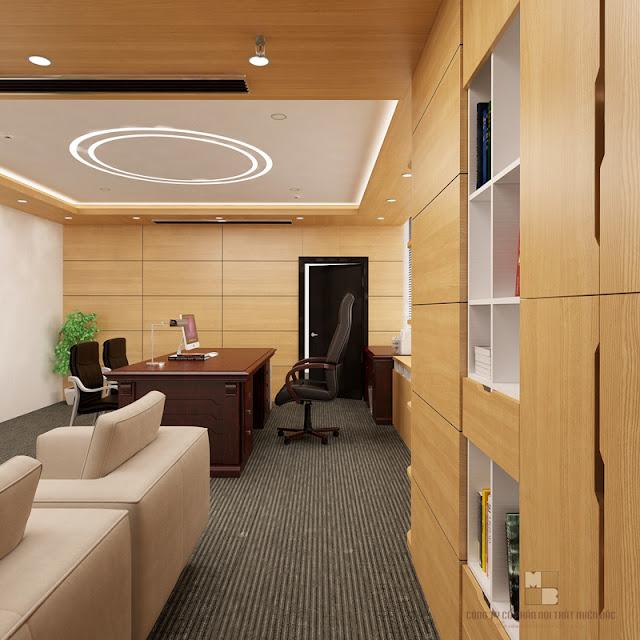 Thiết kế nội thất phòng giám đốc với chiếc bàn làm việc giám đốc sang trọng chất liệu gỗ tự nhiên gam màu nâu đậm