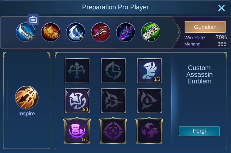 build item yi sun-shin mobile legends (ML)