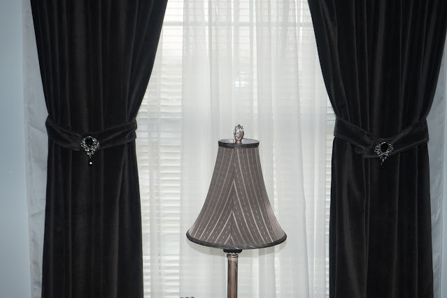 Velvet curtains and sheers