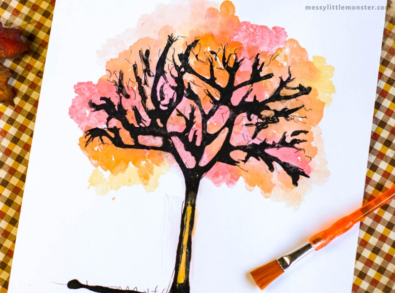 black glue autumn tree craft for kids with printable template