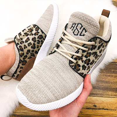 ladies personalized leopard print sneakers