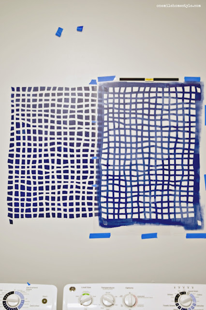 Laundry Room Makeover with Cutting Edge Stencils Mesh Allover Stencil - One Mile Home Style