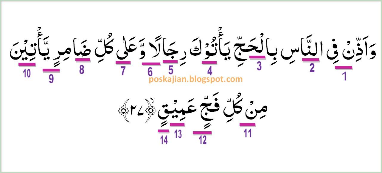 Hukum Tajwid Al Quran Surat Al Hajj Ayat 27 Lengkap Dengan Penjelasannya
