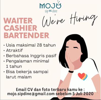 Lowongan Kerja Medan Juni 2020 di Mojo Sip and Dine Sebagai Waiter, Cashier & Bartender