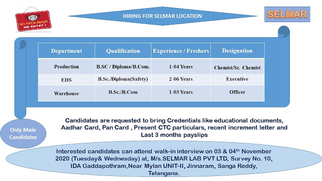 Selmar Lab | Walk-In for Production, EHS, Warehouse Departments on 3rd & 4th Nov' 2020 at Hyderabad