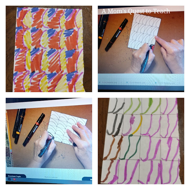 four images of drawing curved lines in various stages and from online lessons