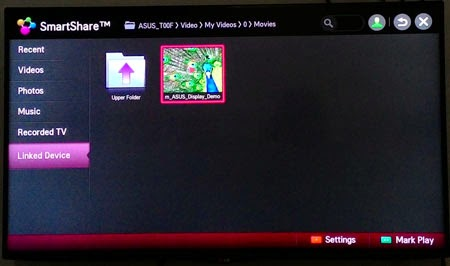 Menu smartshare di smart TV