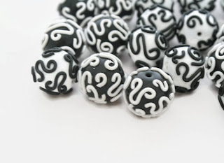 My Black & White Filigree Polymer Clay Beads, handmade by Lottie Of London