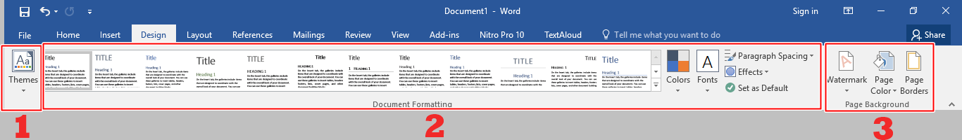 Menu bar Design Microsoft Word 2016