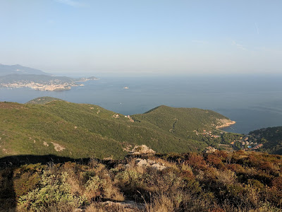 View west over Nisporto with Portoferraio in distance.