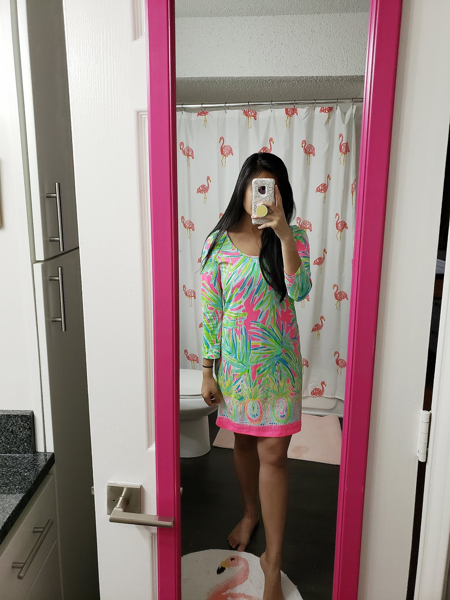 Lilly Pulitzer Beacon Dress in Tiki Pink Royal Lime Engineered