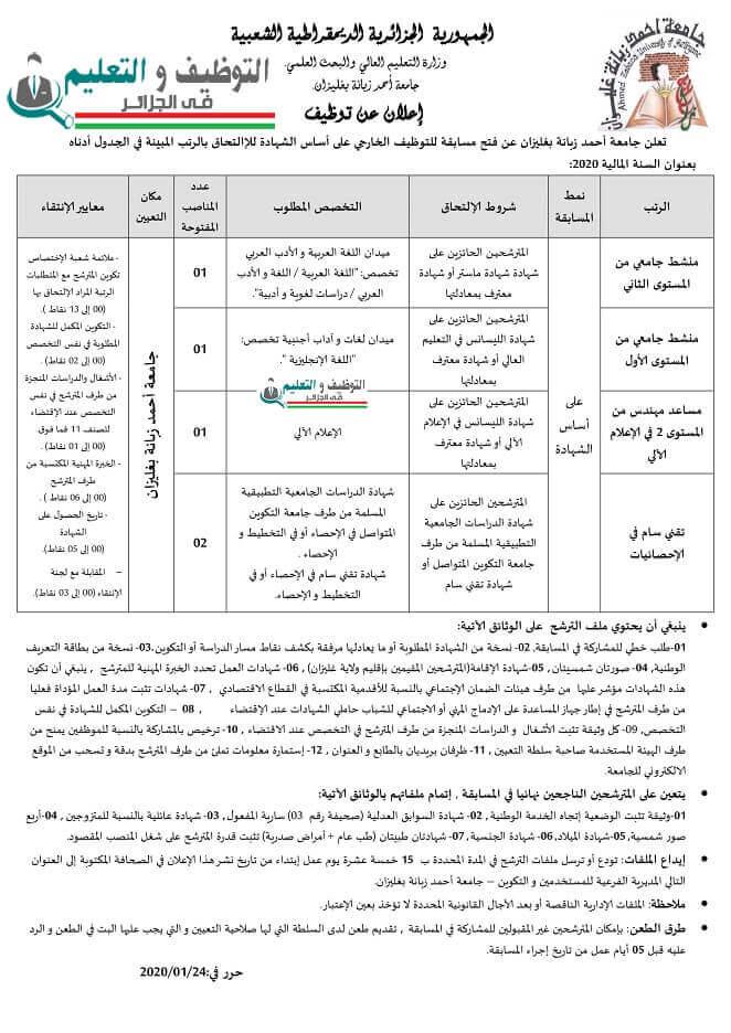 اعلان توظيف بجامعة غليزان 24 جانفي 2021