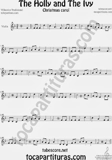 Partitura de Holly and The Ivy para Violín Villancico Sheet Music for Violin Music Scores Music Scores