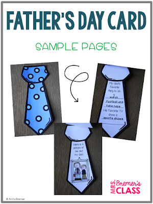 Father's Day Card 'All About My Dad' for Kindergarten, First Grade, and Second Grade
