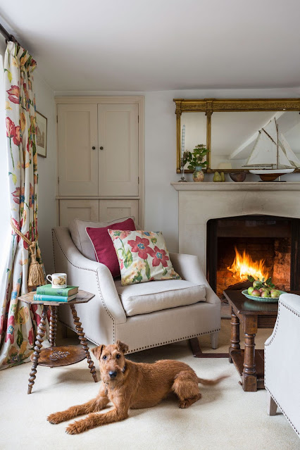 colorful floral prints in a cottage living room