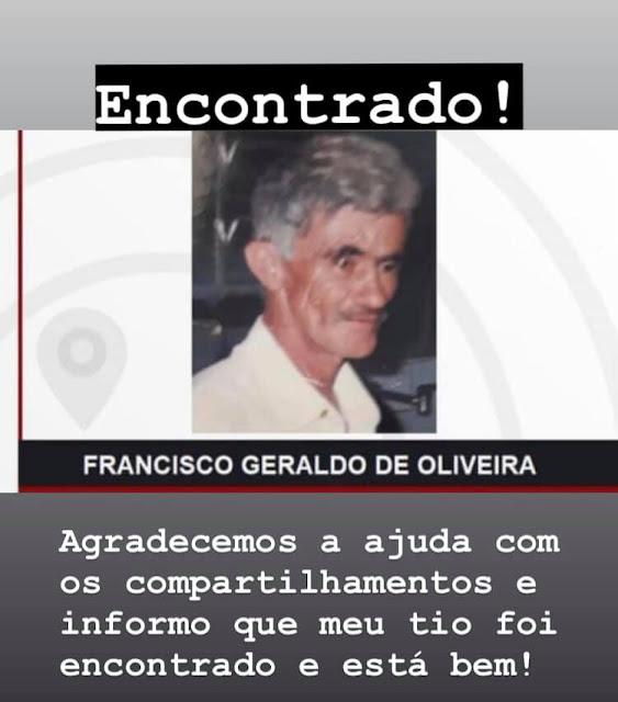 Atualização do caso do desaparecimento do senhor Francisco - 02/03/2021
