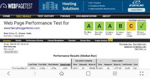 WebPageTest website speed analyzer
