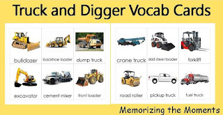 Montessori 3 Part Cards for Trucks and Diggers