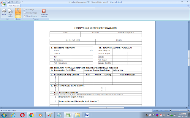 Format evaluasi kompetensi guru dan pegawai