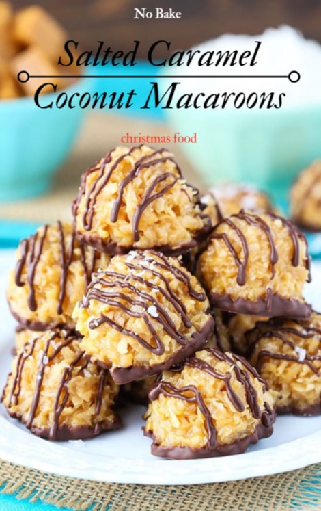 No Bake Salted Caramel Coconut Macaroons #christmas #dessert