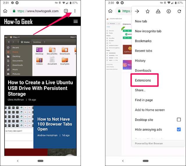 Cara Memasang Ekstensi Chrome Desktop Pada Ponsel Android