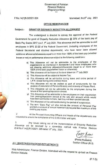 GRANT OF DISPARITY REDUCTION ALLOWANCE TO THE FEDERAL GOVERNMENT EMPLOYEES IN BS-20 TO BS-22