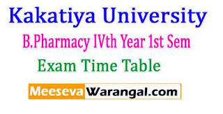 Kakatiya University B.Pharmacy IVth Year 1st Sem Exam Time Table