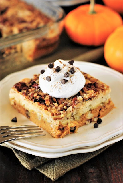 Piece of Pumpkin Dump Cake with Chocolate Chips Image