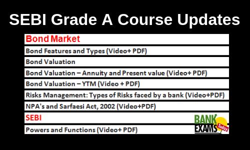 SEBI Grade B Course Updates