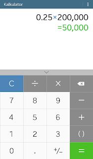 cara menghitung persen di kalkulator iphone