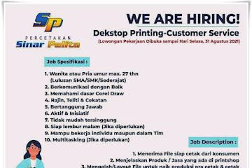 Lowongan Kerja CS Desktop Printing Sinar Pelita Bandung