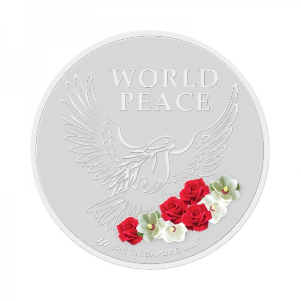 The base-metal version inscription 'World Peace' in large letters on the other side.