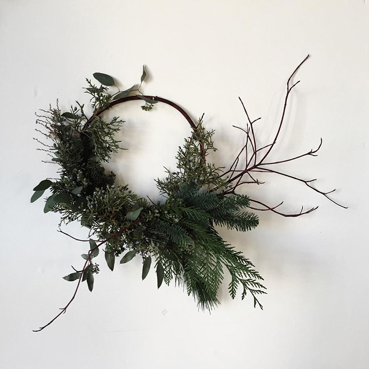 Asymmetrical wreath via Heather Page