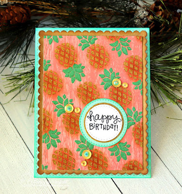 Happy Birthday by Larissa Heskett for Newton's Nook Designs using Pineapple Stencil Set and Therm O Web Metallix Gel and Glitz Glitter Gel #newtonsnook #pineapplestencil #thermoweb