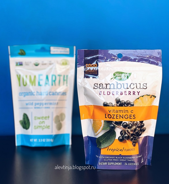 Nature's Way, Sambucus Elderberry, Vitamin C Lozenges, Tropical Flavored, 24 Lozenges