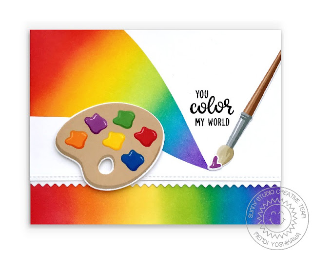 Sunny Studio: Paint A Rainbow Palette & Brush Card (using Color My World Stamps & Slimline Basic Border Dies)