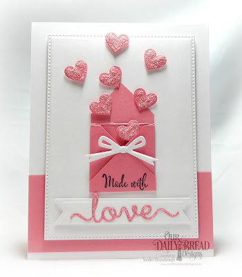Our Daily Bread Designs Stamp Set: Hugs & Kisses, Custom Dies:  Love Script, Layering Hearts, Pierced Rectangles, Circle Ornaments, Pennant Flags