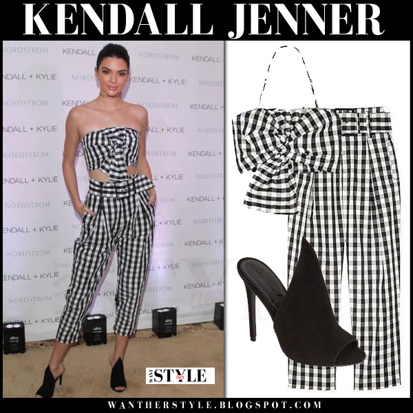 Kendall Jenner in gingham print crop top and matching crop pants and black essie mules kendall kylie collection what she wore
