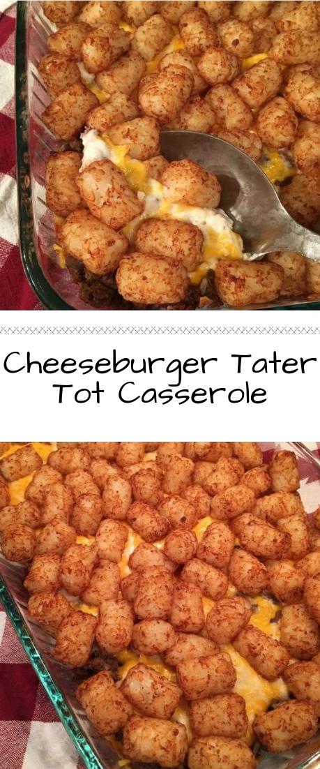 Cheeseburger Tater Tot Casserole #dinner #recipe