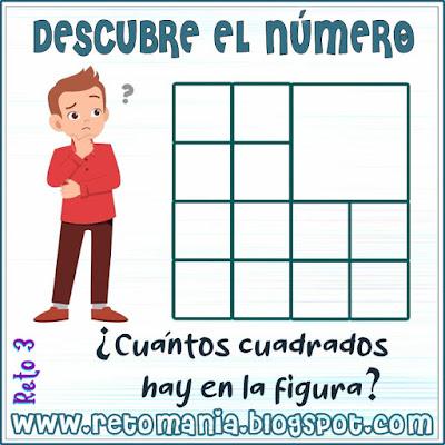 Cuadrado mágico, Desafíos matemáticos, Retos matemáticos, Problemas matemáticos, Retos mentales, Descubre el número, Busca el número, El número oculto, Número de cuadrados