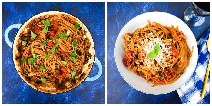 One-pot mushroom and tomato spaghetti -step four - stir and serve pasta