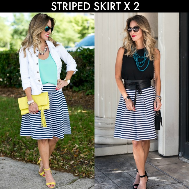 c561426be7 LOOK #1 :: A-line Striped Skirt 00P | Similar Tank | Similar White Denim  Jacket | Yellow Heels | Similar Yellow Clutch $25 | Similar Necklace |  Rings | Blue ...