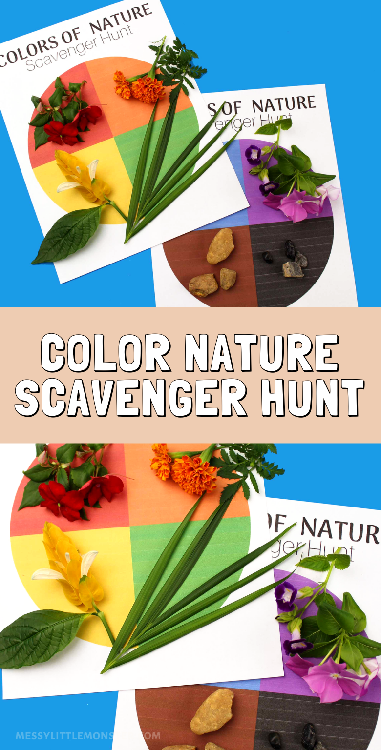 color activity for kids - nature scavnger hunt.