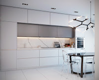 Luxurious All White Kitchen and Features Design Ideas