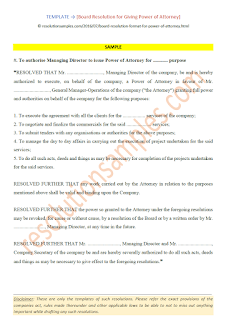 board resolution for granting power of attorney